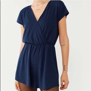 Urban Outfitters V Neck Short Sleeve Romper Blue